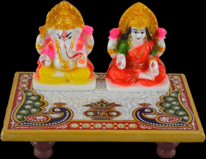 test Traditional & Marble Gifts - MG-Marble dust Ganesh ji and Lakhsmi ji choki