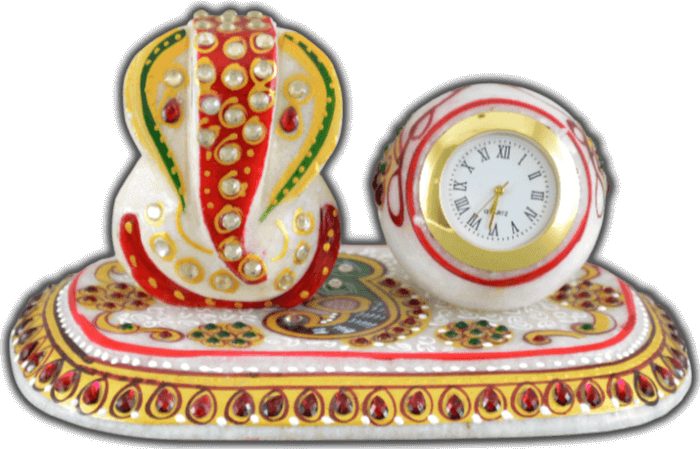 Traditional & Marble Gifts - MG-Marble Ganesh with clock office set