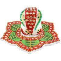 Traditional & Marble Gifts - MG-Marble leaf Ganesh choki