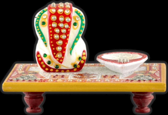 test Traditional & Marble Gifts - MG-Ganpati chowki with diya
