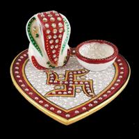 New Arrival - PT-Ganpati heart marble thali