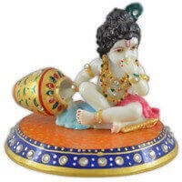 Traditional & Marble Gifts - MG-Marble chowki laddu Gopal