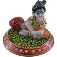 Traditional & Marble Gifts - MG-Marble choki laddu Gopal