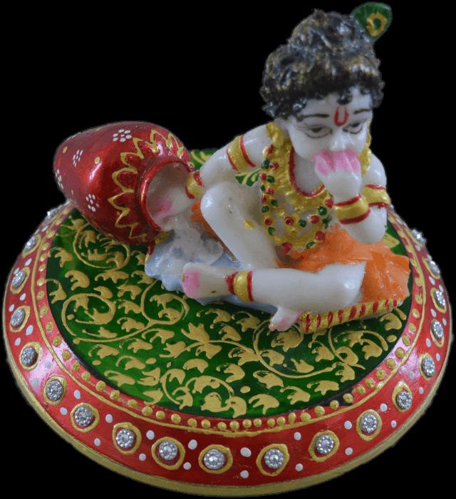 Traditional Gifts - TG-Marble choki laddu Gopal - 3