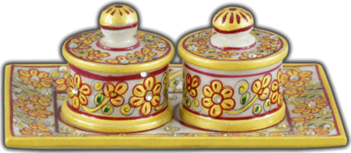 Traditional & Marble Gifts - MG-Marble Soopari bowl tray set