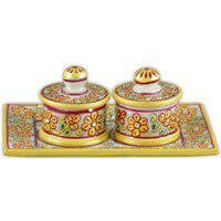 Traditional Gifts - TG-Marble Soopari bowl tray set