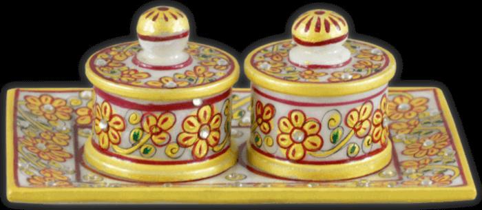 Traditional Gifts - TG-Marble supari tray set