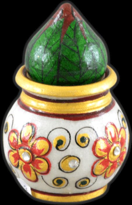test Traditional Gifts - TG-Marble flower nariyal kalash