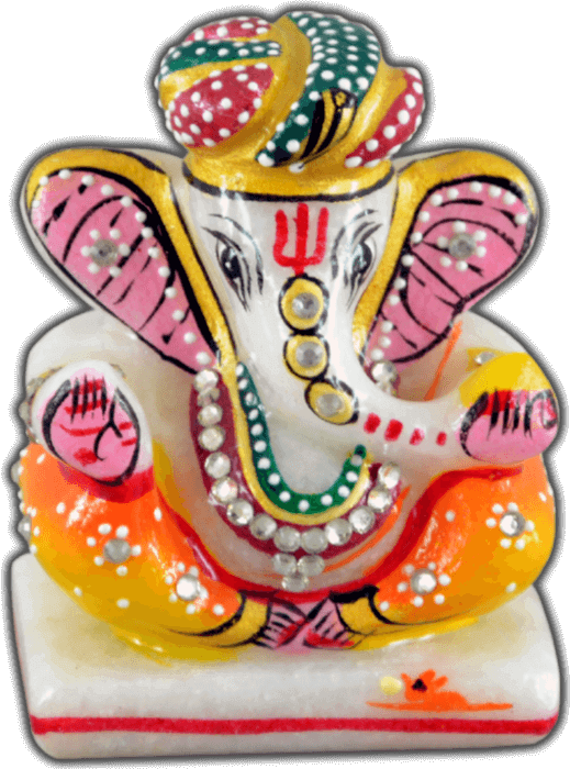 Traditional & Marble Gifts - MG-Marble pagdi art Ganesh