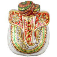 Traditional & Marble Gifts - MG-Marble modern art pagdi Ganesh