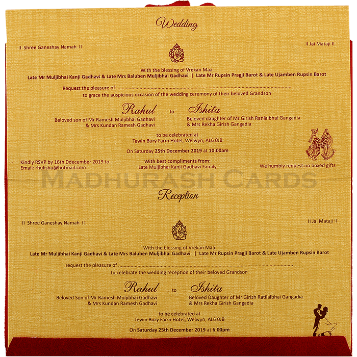 Hindu Wedding Cards - HWC-17194 - 5