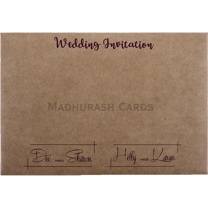 Kwc 9423 A Premium Kraft Wedding Card With Vellum Butter