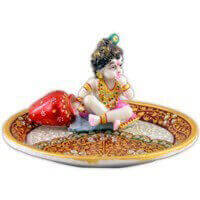 Traditional & Marble Gifts - MG-Marble Ladoo Gopal Pooja Thali