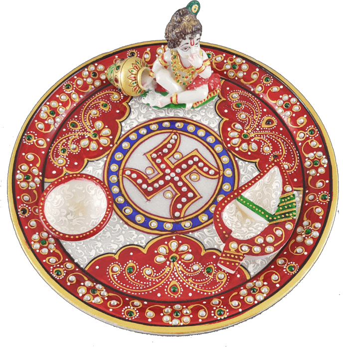 test Traditional & Marble Gifts - MG-Marble Ladoo Gopal Pooja Thali