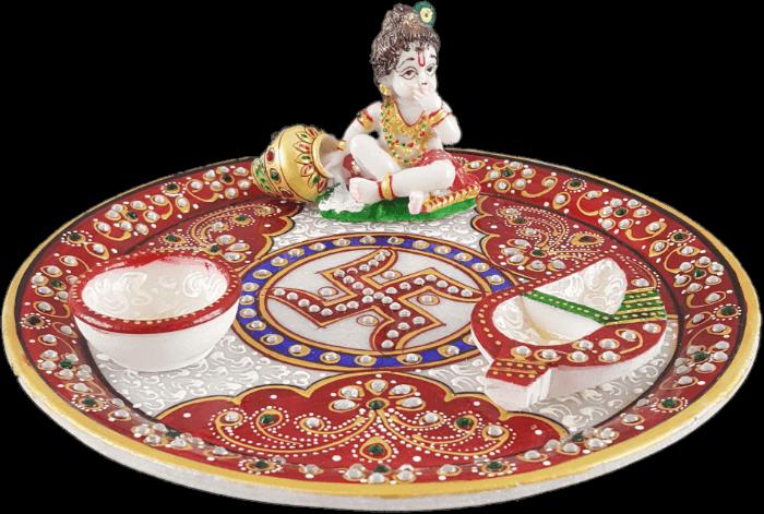 Traditional & Marble Gifts - MG-Marble Ladoo Gopal Pooja Thali - 3