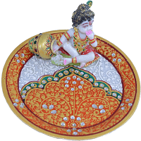 Traditional & Marble Gifts - MG-Marble Ladoo Gopal Pooja Thali 2