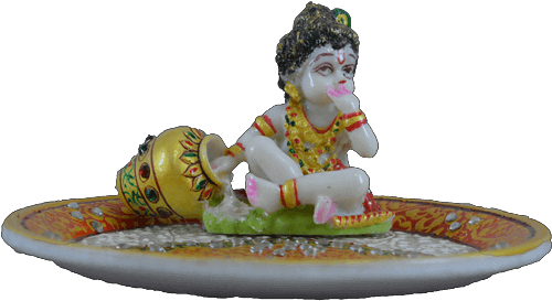 Traditional & Marble Gifts - MG-Marble Ladoo Gopal Pooja Thali 2 - 3