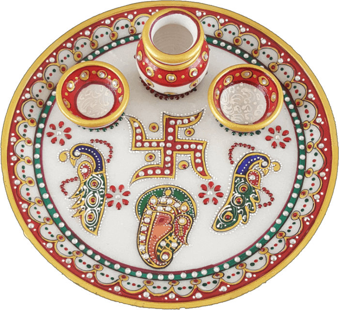 Traditional & Marble Gifts - MG-Marble Pooja Thali 1A - 2