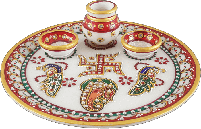 Traditional & Marble Gifts - MG-Marble Pooja Thali 1A - 3