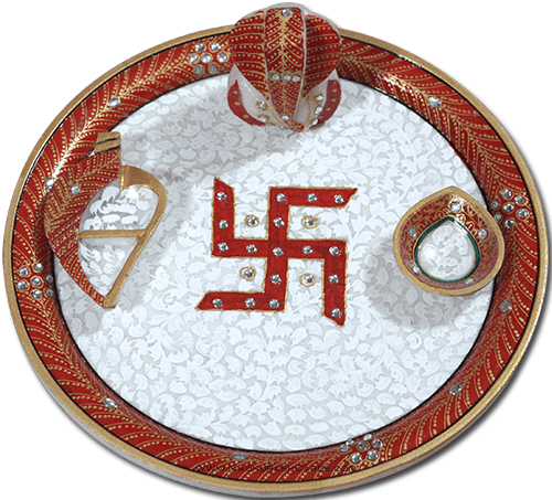 Traditional & Marble Gifts - MG-Marble Puja Thali 8