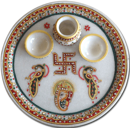 Traditional & Marble Gifts - MG-Marble Puja Thali 3