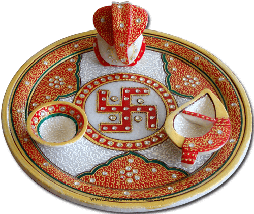 Traditional & Marble Gifts - MG-Marble Puja Thali 1