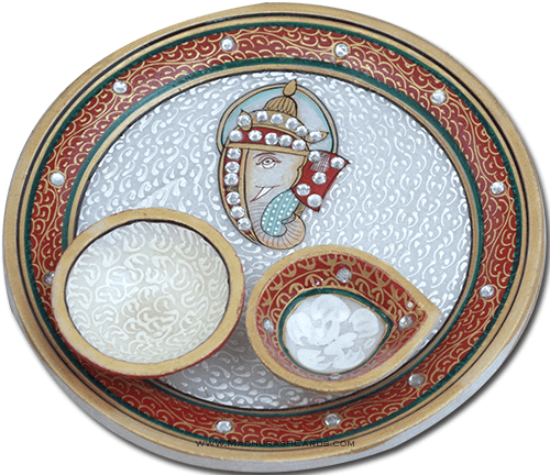 test Traditional & Marble Gifts - MG-Marble Puja Thali 9
