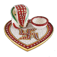 Traditional & Marble Gifts - MG-Ganpati heart marble thali