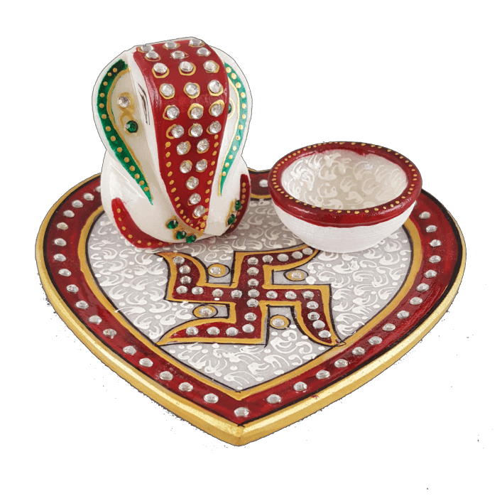 test Traditional & Marble Gifts - MG-Ganpati heart marble thali