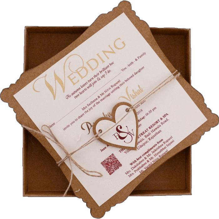 test Kraft Wedding Invitations - KWC-9421D