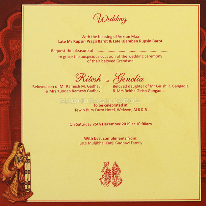 Hindu Wedding Cards - HWC-18128 - 5