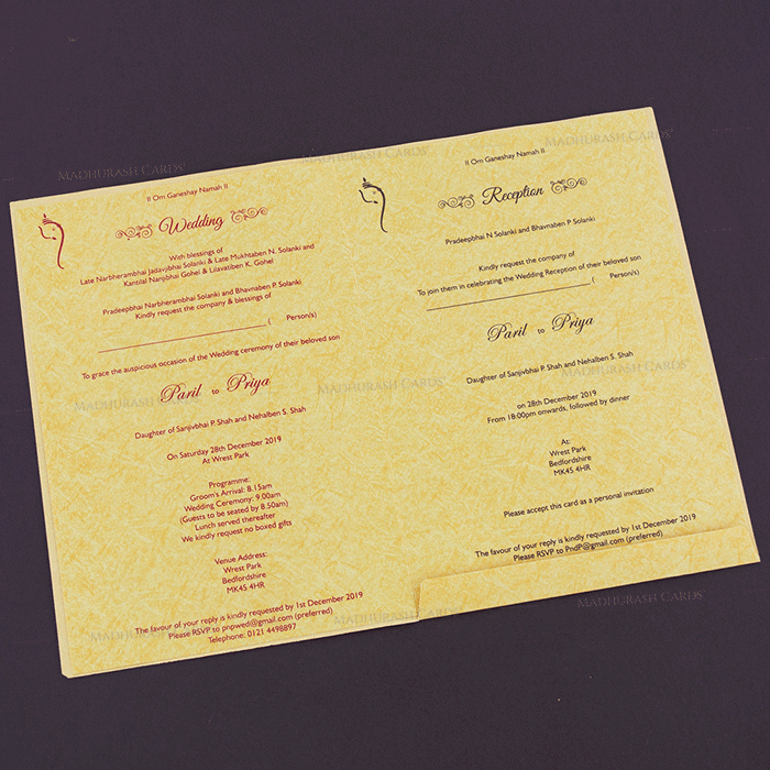 Hindu Wedding Cards - HWC-18134 - 4