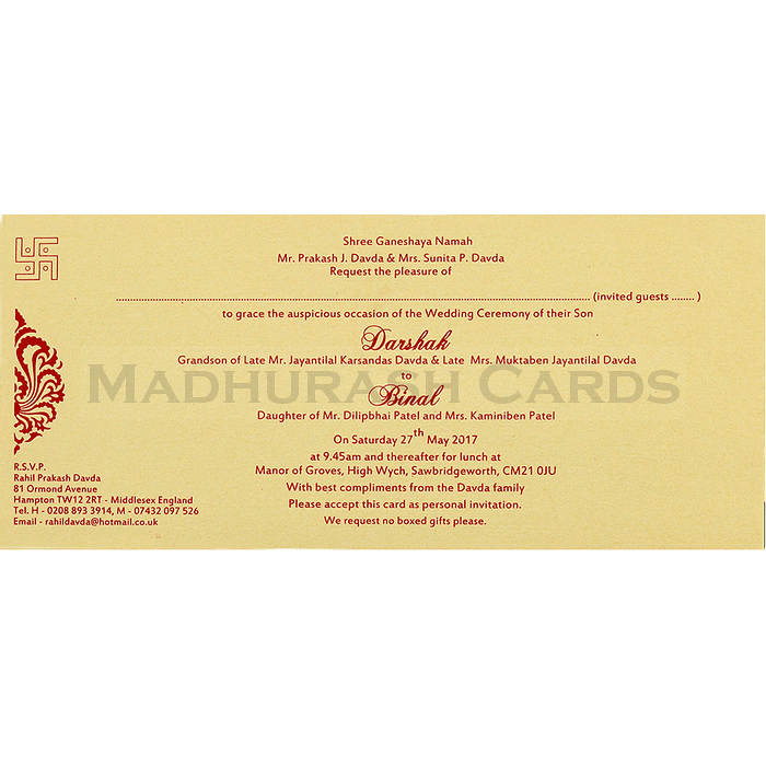 Hindu Wedding Cards - HWC-4063 - 5