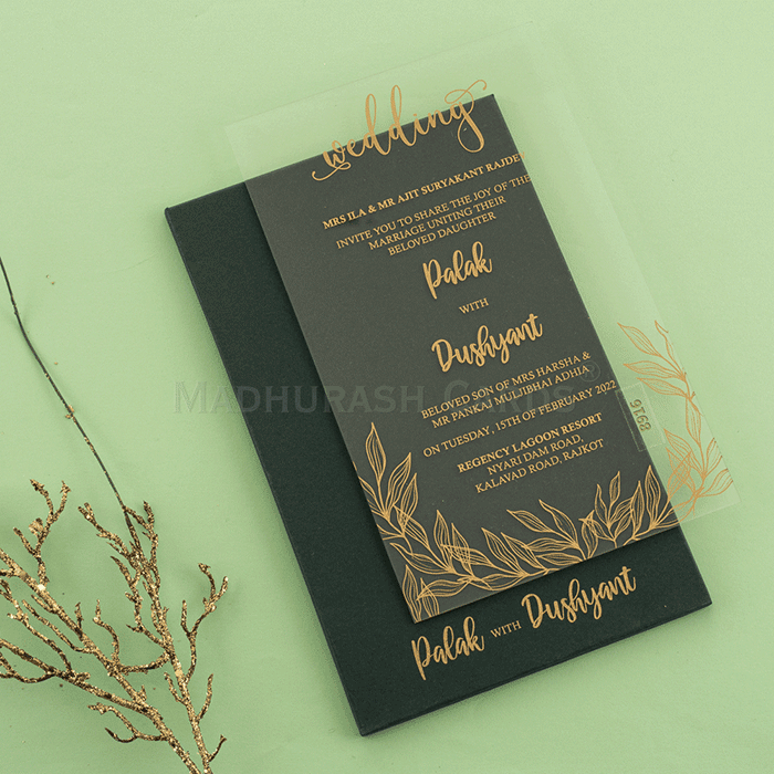 Cheap Designer Transparent Wedding Invitations Awi 8916g By Madhurash Cards