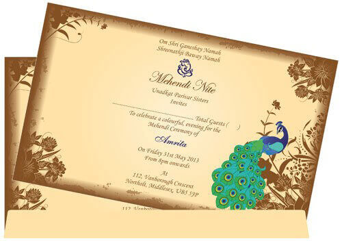 Hindu Wedding Invitations - HWC-Peacock - 4