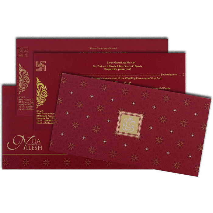 Hard Bound Wedding Cards - HBC-4021 - 5