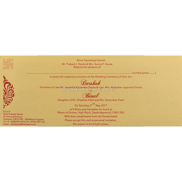 Hindu Wedding Invitations - HWC-15128