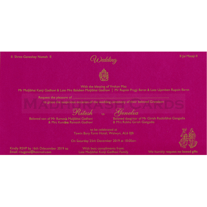 Hindu Wedding Cards - HWC-15167 - 5