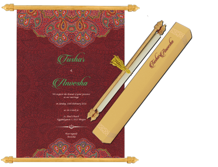 test Scroll Wedding Invitations - SC-6072