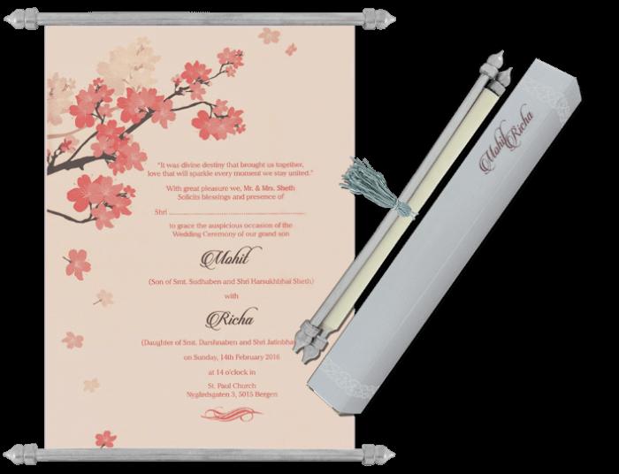 Buy Wedding Invitation Cards Online: Buy Scroll Wedding Invitation Cards