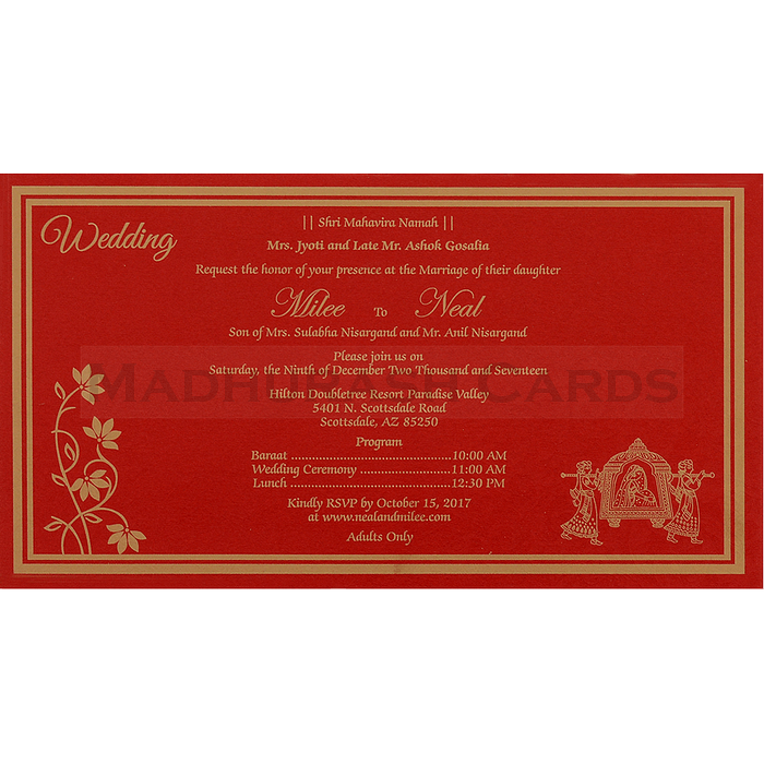Hindu Wedding Cards - HWC-16178 - 5