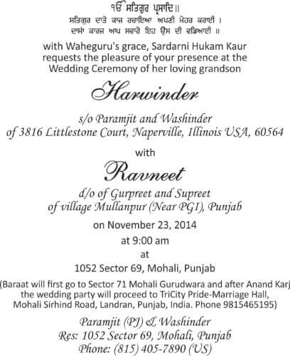 Wording Templates for Hindu Muslim Sikh & Christian Wedding Cards