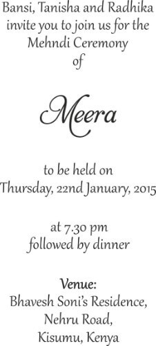 Mehndi Ceremony Quotes In : Wording templates for hindu muslim sikh christian