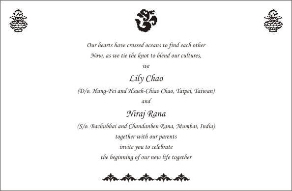 Wording templates for hindu muslim sikh christian wedding cards personal wordings stopboris Images