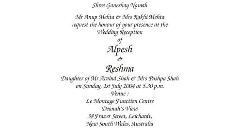 Reception Ceremony Wordings  Engagement Invitation Matter