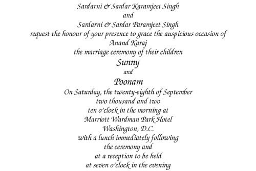 Our Wording Templates – Sikh Invitation Cards