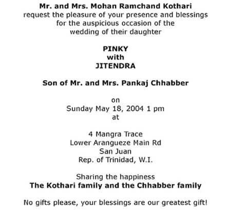 Wording Templates for Hindu Muslim Sikh & Christian Wedding Cards
