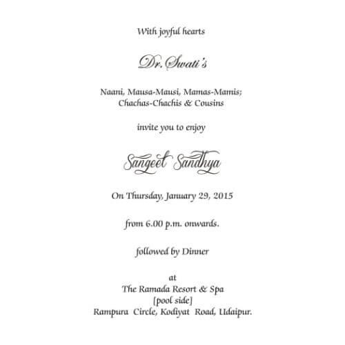 Wording templates for hindu muslim sikh christian wedding cards sangeet ceremony wordings stopboris Gallery